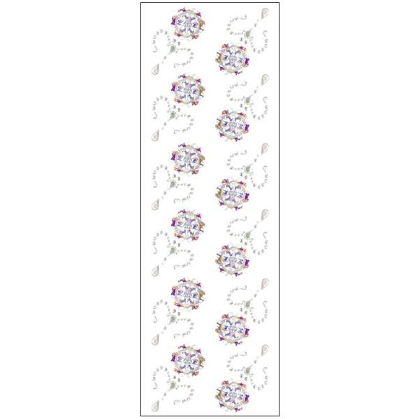 Kristallkunst, Blumen-Ornament 2, 10cm x 30cm, selbstklebend, klar irisierend