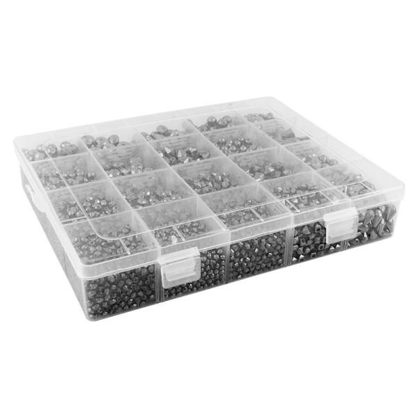 Perlen-Vielfalt in Kunststoff-Box, verschiedene Perlensorten, 500g, metallic, anthrazit