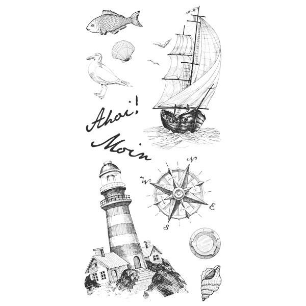 Feinkontur-Stempel, einzelne Motive auf Trägerfolie, Maritim