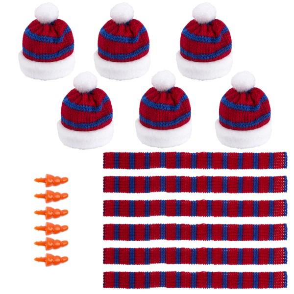 Winter-Outfit 4, Mützen, Schals & Nasen, 18-teilig, für Ø 4cm, rot/blau