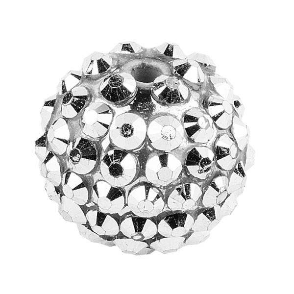 Kristall-Perlen, Ø 14mm, silber, 10 Stück