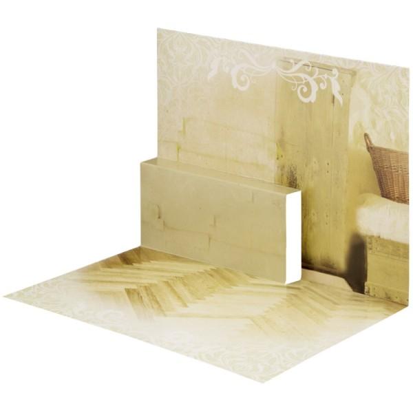 Pop-Up-Grußkarten-Einleger, gefaltet 11 x 15,5 cm, Zimmer