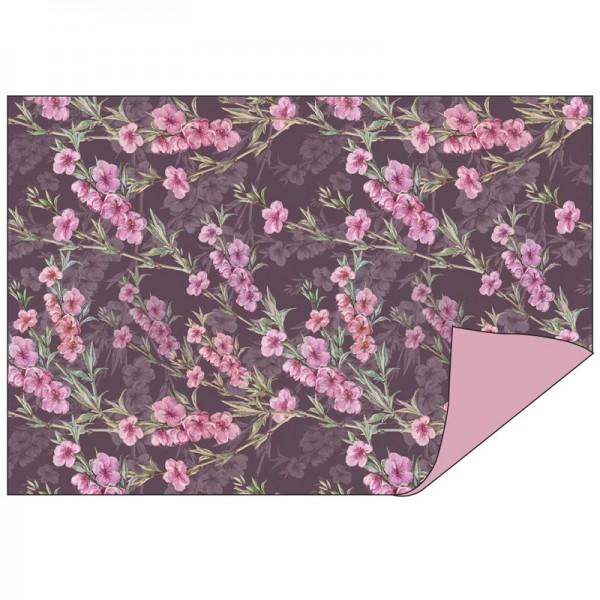 Faltpapiere Duo-Design 10, 10cm x 15cm, Blumen/rosa, 50 Stück