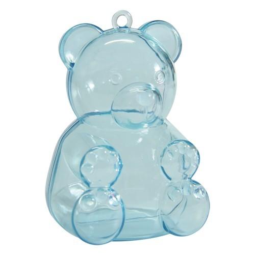 Acryl-Teddy, 5,2 x 4,5 x 7,4 cm, blau