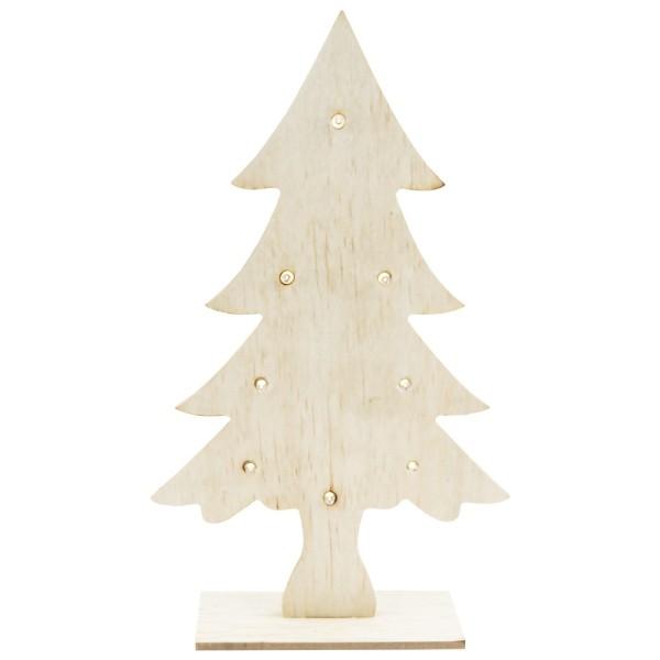 LED-Tanne, Holz, Tanne: 27cm x 16cm x 0,5cm, mit Fuß, 8 LEDs, warmweiß