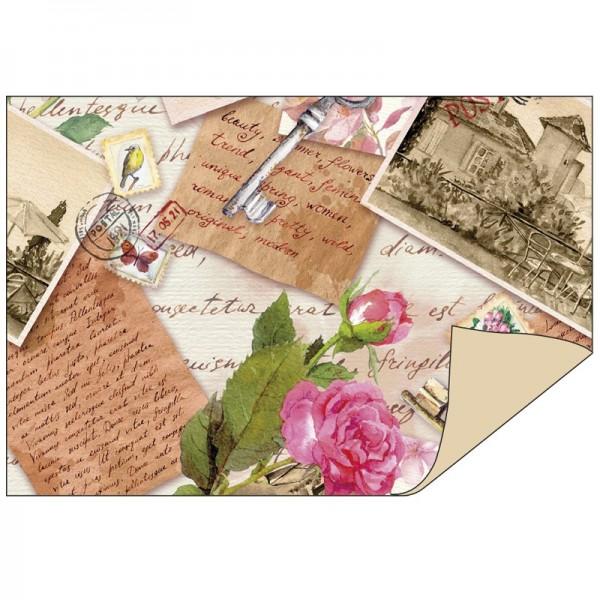 Faltpapiere Duo-Design 2, 10cm x 15cm, Vintage/beige, 50 Stück