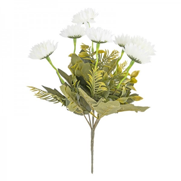 Blütenbusch, Chrysanthemen 2, 35cm hoch, 7 große Blüten, Ø 4,5cm, weiß