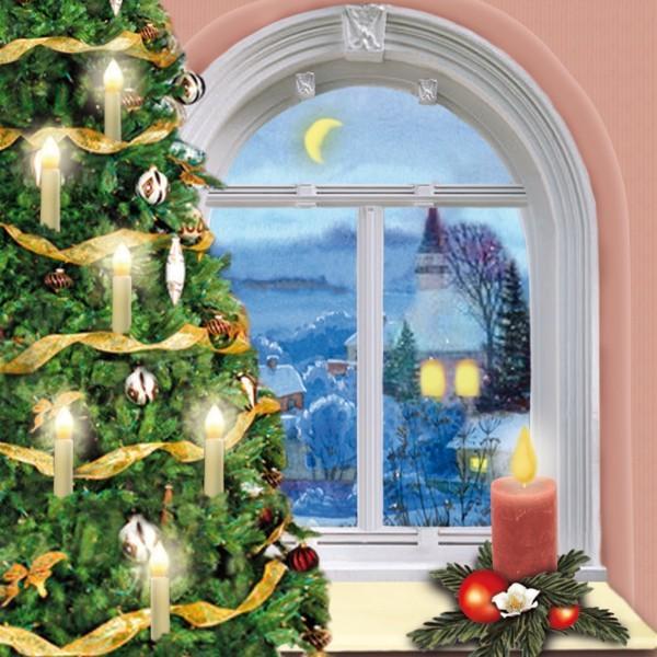 Deko-Lichteffekt-Bild, Geschmückter Baum, 25 x 25 cm