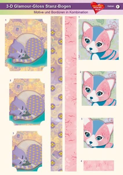 3-D GlamourGloss Bogen, Katzen, DIN A4, Motiv 8
