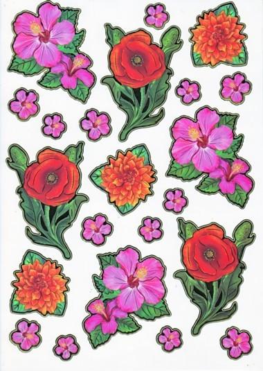 Ultra Gloss Sticker Bogen, Astern, Lilie & Mohnblume