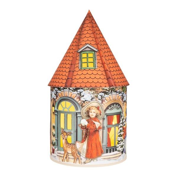 LED-Lichthaus, Nostalgische Weihnacht 3, Ø 11cm, 22cm hoch, inkl. Draht-Lichterkette, mit Timer