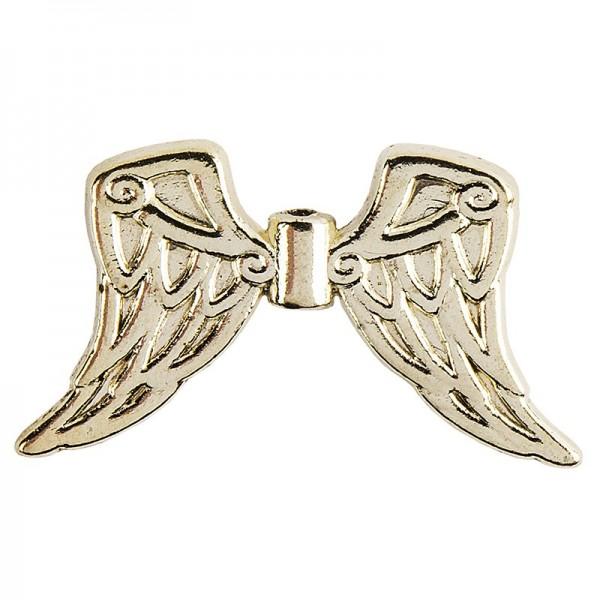 Engelsflügel, Design 7, 3cm, hellgold, 15 Stück