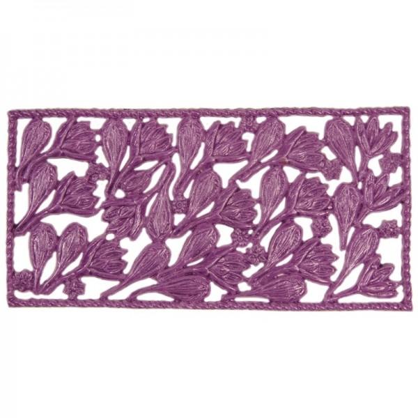 Wachsornament-Platte Krokusse, 16 x 8 cm, violett