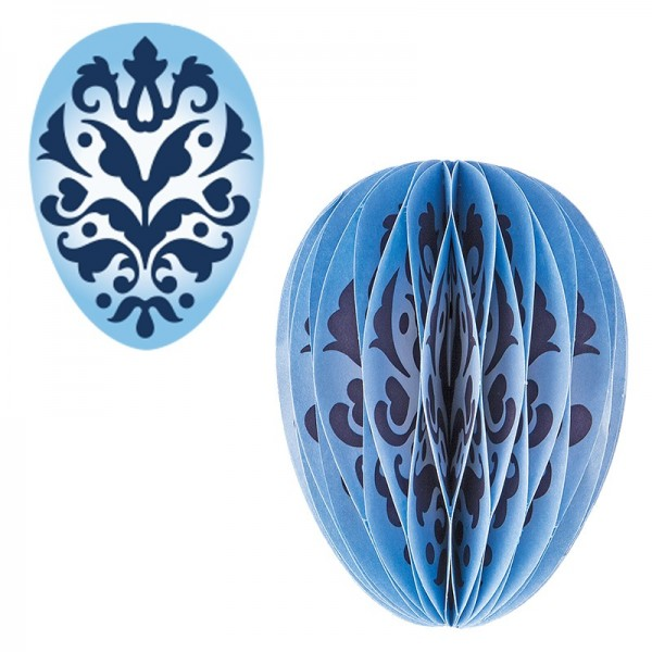 Waben-Stanzteile, Osterei, Ornament blau, 5,5cm x 7,5cm, 100 Stück