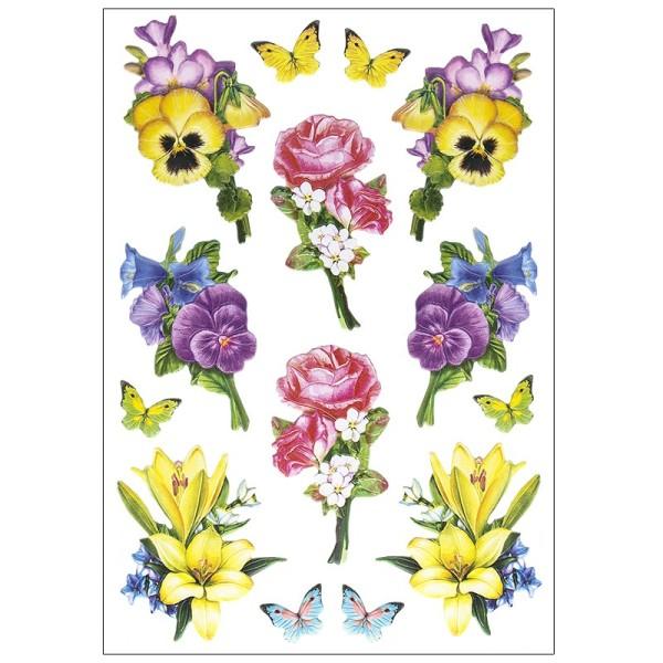 3-D Relief-Sticker, Blumensträußchen 1, verschiedene Größen, selbstklebend