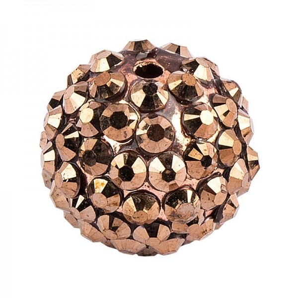 Kristall-Perlen, Ø 14mm, bronze, 10 Stück