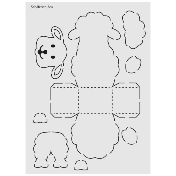 """Design-Schablone Nr. 6 """"Schäfchen-Box"""", DIN A4"""