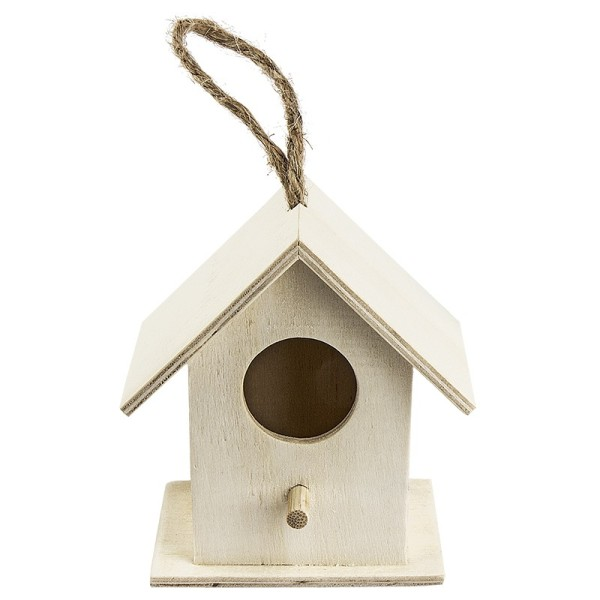Vogelhäuschen aus Holz, Design 1, 8,3cm x 7,5cm x 5,3cm, mit Aufhängung