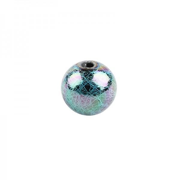 Perlen, Rund, gesponnen, Ø 1,5cm, silber-türkis-changierend, 15 Stück