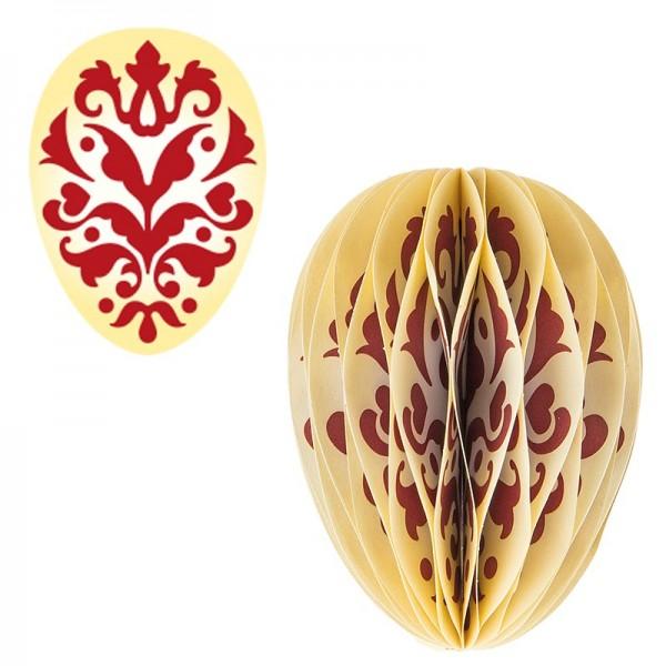 Waben-Stanzteile, Osterei, Ornament rot/gelb, 5,5cm x 7,5cm, 100 Stück
