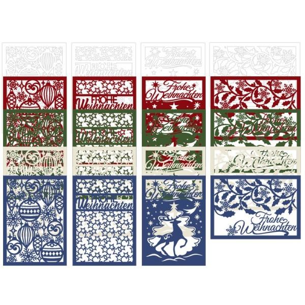 Laser-Kartenaufleger, Winter/Weihnachten 1, 14,8cm x 10,5cm, 4 versch. Designs, 5 Farbtöne, 20 Stück