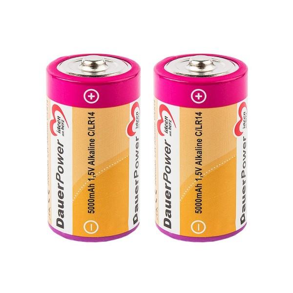 Batterien DauerPower, C/LR14, 1,5V Alkaline, 5000mAh, 2 Stück