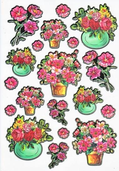 Ultra Gloss Sticker Bogen, Wiesenblumen & Mohn-Rosen