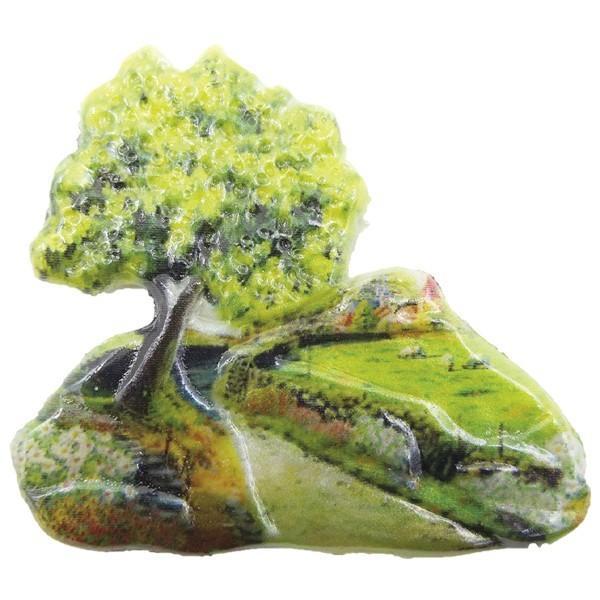 Wachsornament Sommerdörfer 3, farbig, geprägt, 7cm