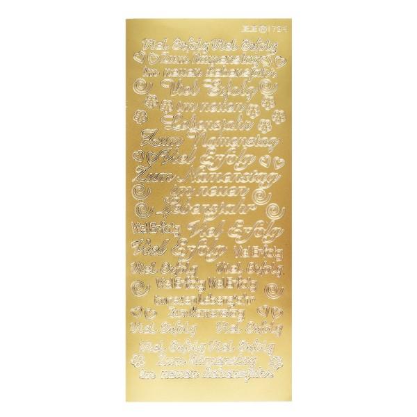 Sticker, Schrift, Viel Erfolg, gold