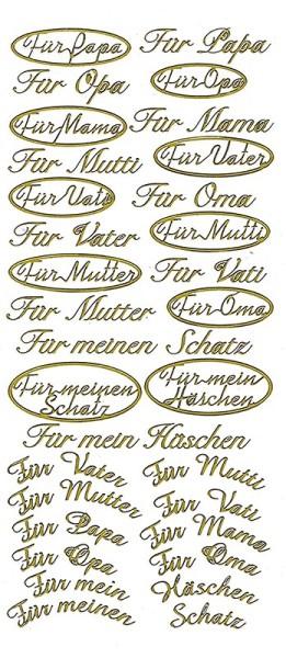 """Sticker """"Für Mama"""", """"Für Papa"""", """"Für meinen Schatz"""", gold"""