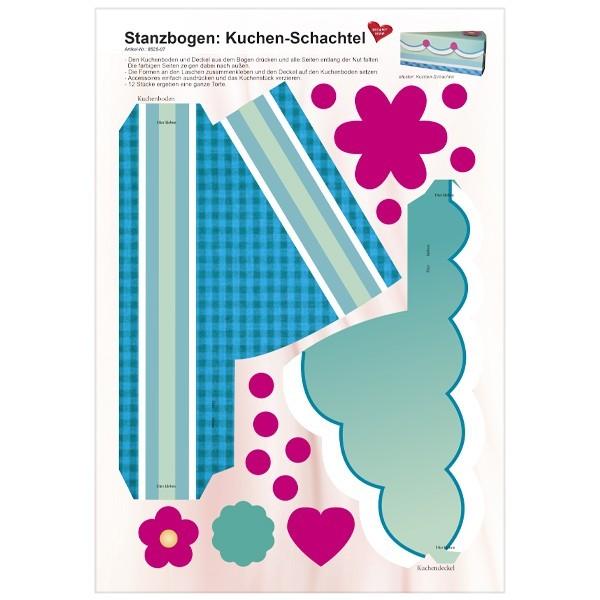 Stanzbogen, Kuchen-Schachtel, DIN A4, Design 7