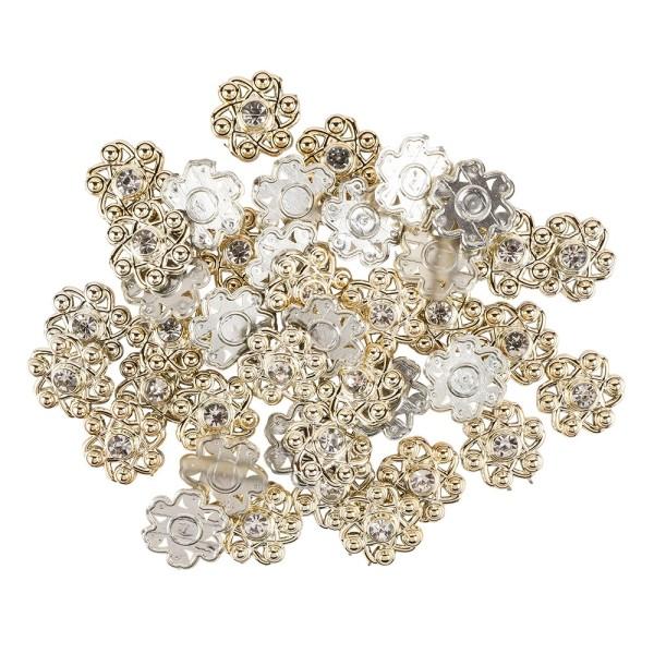 Premium-Schmucksteine, Zierblüte 4, Ø 1,9cm, hellgold, Glaskristallen, 40 Stück