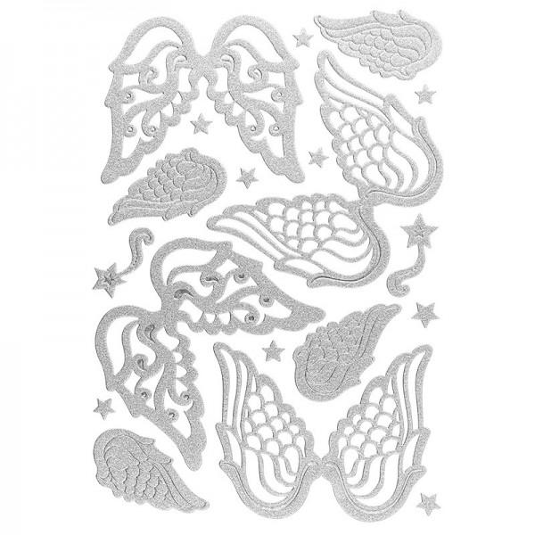 3-D Sticker, Deluxe Engelsflügel, verschiedene Größen, selbstklebend, silber