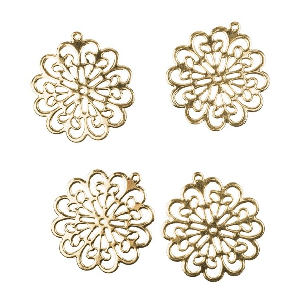 Metall-Ornamente, Design 39, Ø 6,1cm, hellgold, 4 Stück
