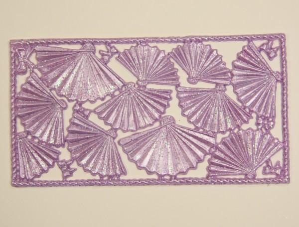 Wachsornament-Platte Fächer, 16 x 8 cm, hell-lila mit Glimmer