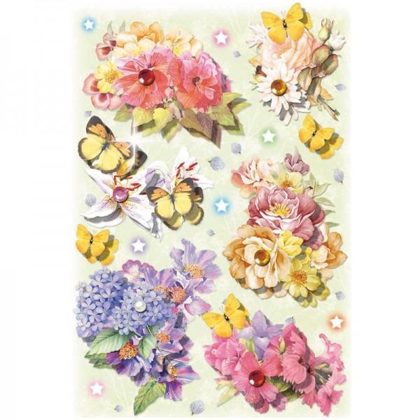 3-D Stickerbogen, Blumen & Schmetterlinge 1, 12,7 x 18,8 cm
