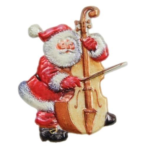 Wachsornament, Nikolaus mit Cello, farbig, geprägt, 7x7cm