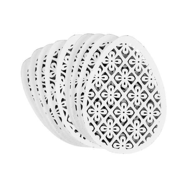 Ei-Ornamente, Holz, 12,7cm x 9cm x 0,5cm, weiß, 9 Stück