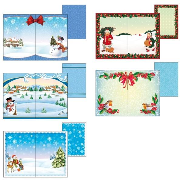 """Motiv-Grußkarten für Waben-Objekte """"Winterlandschaften"""", B6, inkl. Umschläge, 10 Stück"""