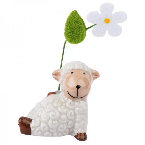 Deko-Schaf mit Filzblume 1, Porzellan, 4cm