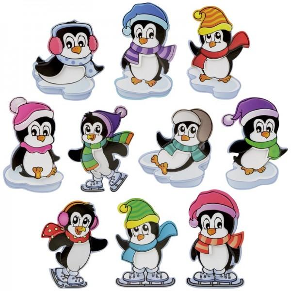 3-D Motive, Drollige Pinguine, 5,5-9cm, 10 Motive