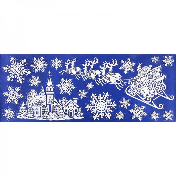Glimmer-Relief-Sticker XXL, Weihnachtsdorf, 20cm x 50cm