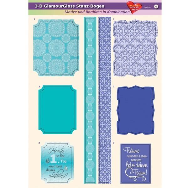 3-D GlamourGloss Bogen, Sprüche, DIN A4, Motiv 4