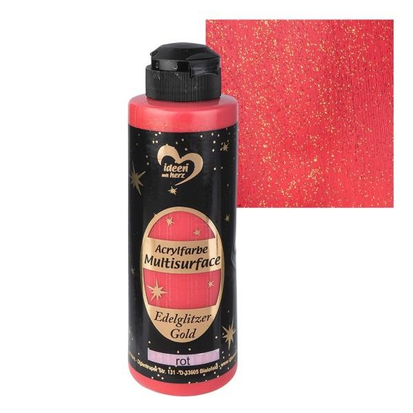 "Acrylfarbe ""Multisurface"", Edelglitzer Gold, rot, 180ml"