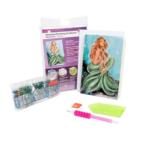 Diamond-Painting-Grußkarte, Meerjungfrau, 11,5cm x 16,5cm, 370g/m², inkl. Umschlag & Werkzeug