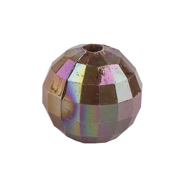 Perlen, facettiert, Ø 10 mm, taupe-irisierend, 50 Stück