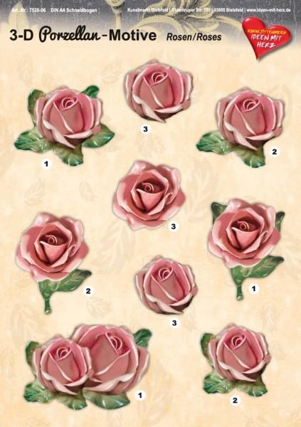 3-D Porzellan-Motive, Rosen, DIN A4 Bogen