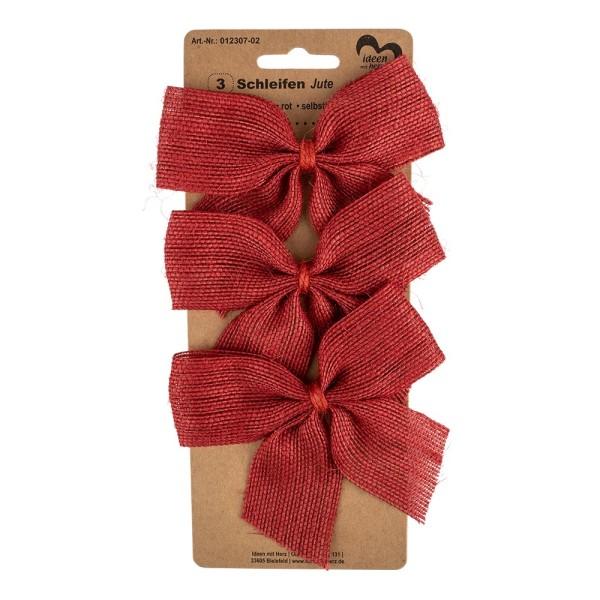 Schleifen Jute, 11cm x 9,5cm, rot, selbstklebend, 3 Stück