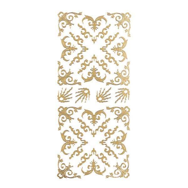 Sticker, Schnörckel-Ecken, Perlmuttfolie, gold