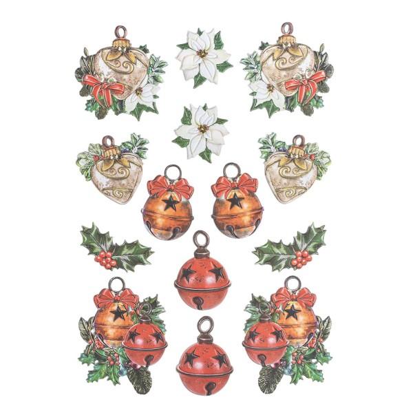 3-D Relief-Sticker, Weihnachts-Baumschmuck 3, verschiedene Größen, selbstklebend